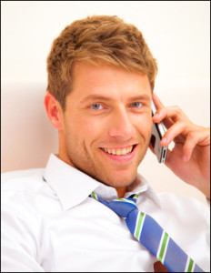 portrait of a business man talking on the phone